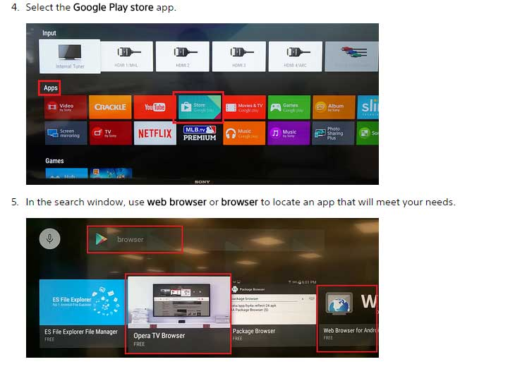 sony android tv instalare browser